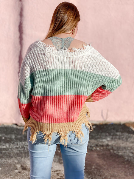 Ripped Color Block Sweater