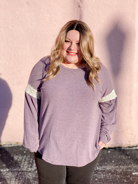 Plus Bubble Sleeve Slouchy with Lace