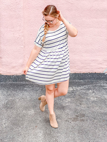 Striped Babydoll Dress with Cross Back