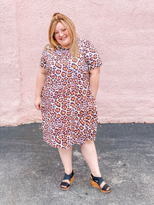 Plus Leopard Print Swing Dress with Pockets