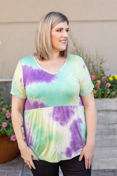 Sarah Ruffle Top - Purple & Mint Tie Dye