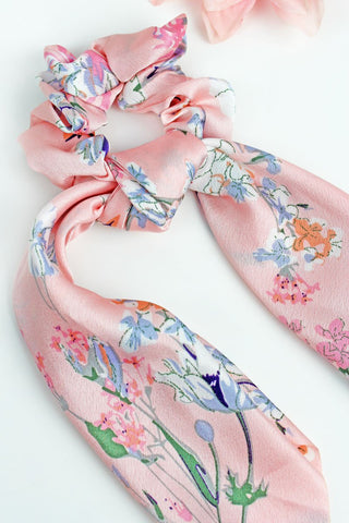 Pink Blossoming Scarf Scrunchie