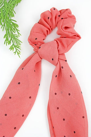 Salmon Polka Dot Scarf Scrunchie