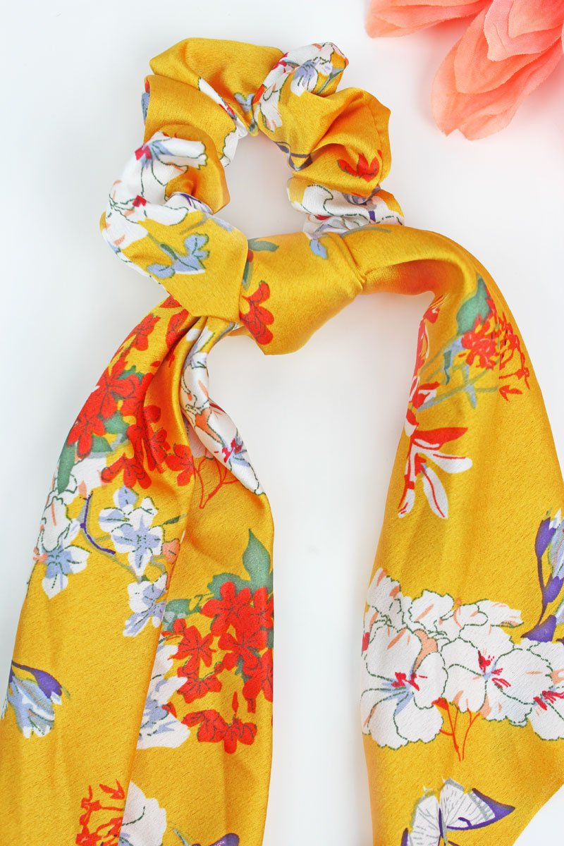 Yellow Blossoming Scarf Scrunchie