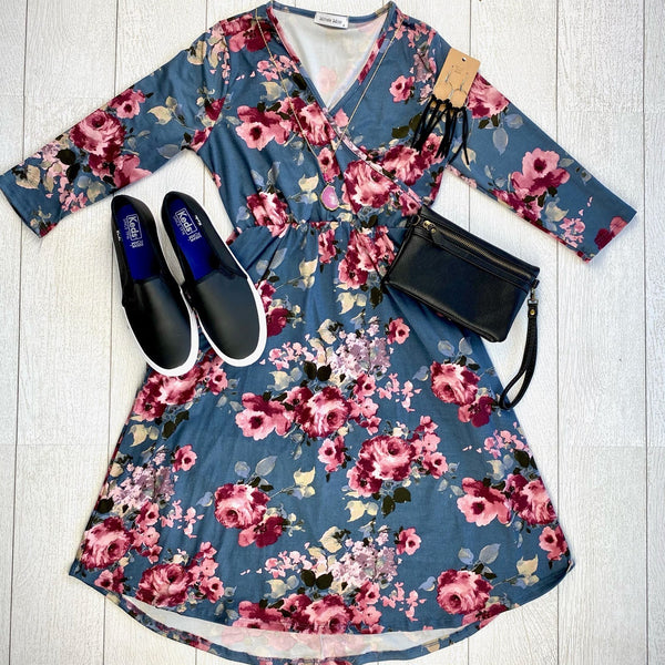 IN STOCK Taylor Dress - Denim Floral