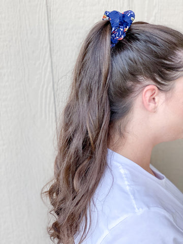 Navy Blooming Beauty Scrunchie