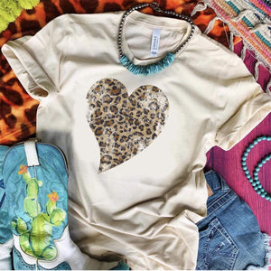 Distressed Leopard Heart Tee *MULTIPLE COLORS*