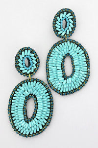 Turquoise Crystal Trimmed Bugle Bead Oval Earrings