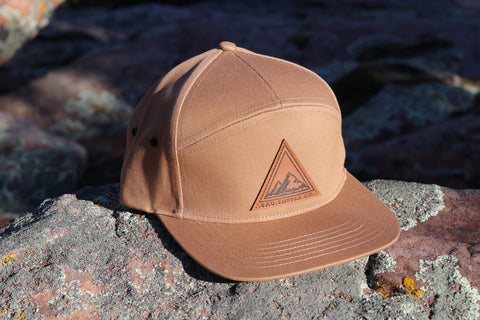 Triangle Mountains 7 Panel Hat - Tan
