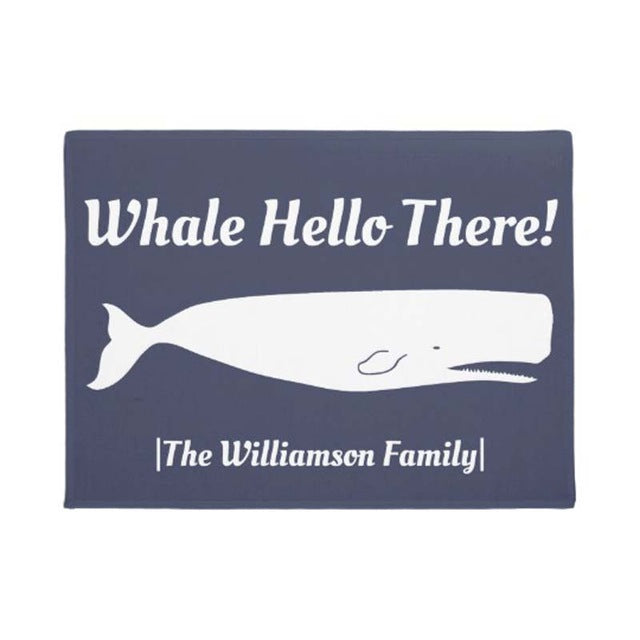 Nautical Whale Hello There Doormat