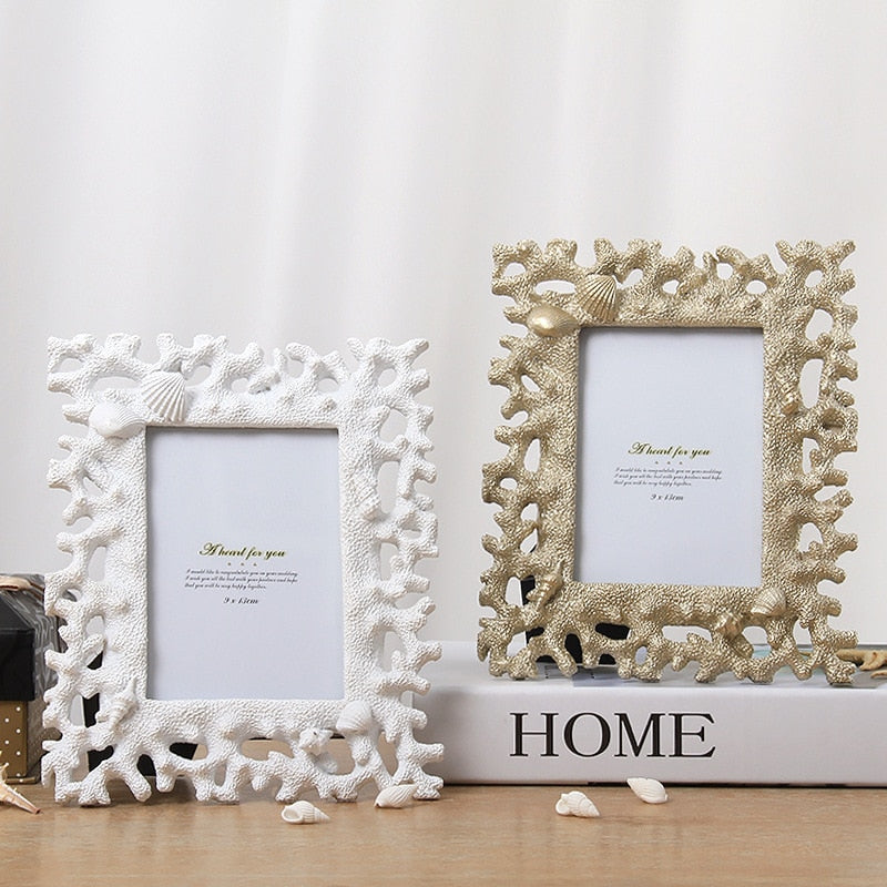 Wooden coral picture frames