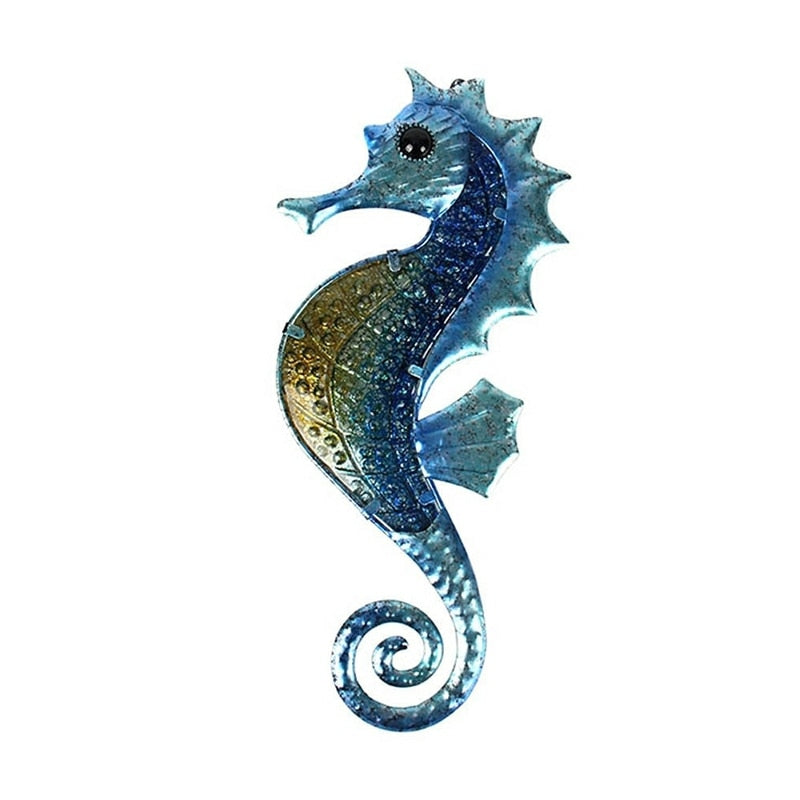 "Blown Glass and Metal 14.5"" Garden Seahorse"