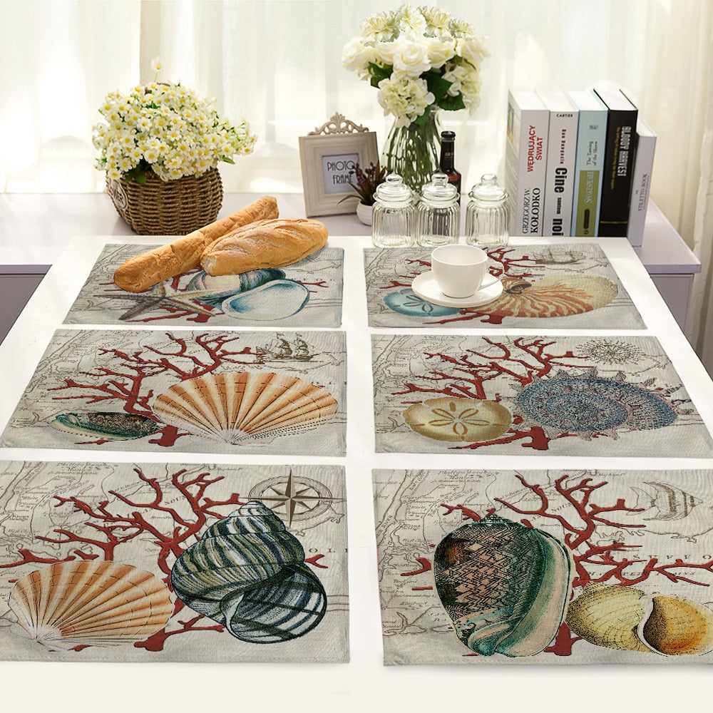 Handmade Shell and Ocean-Themed Placemats