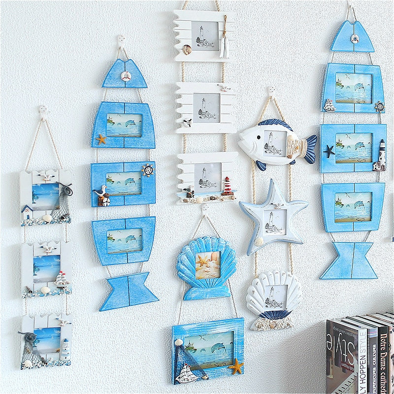Wooden Coastal Photo Frames - Shells, Starfish & Fish Frames