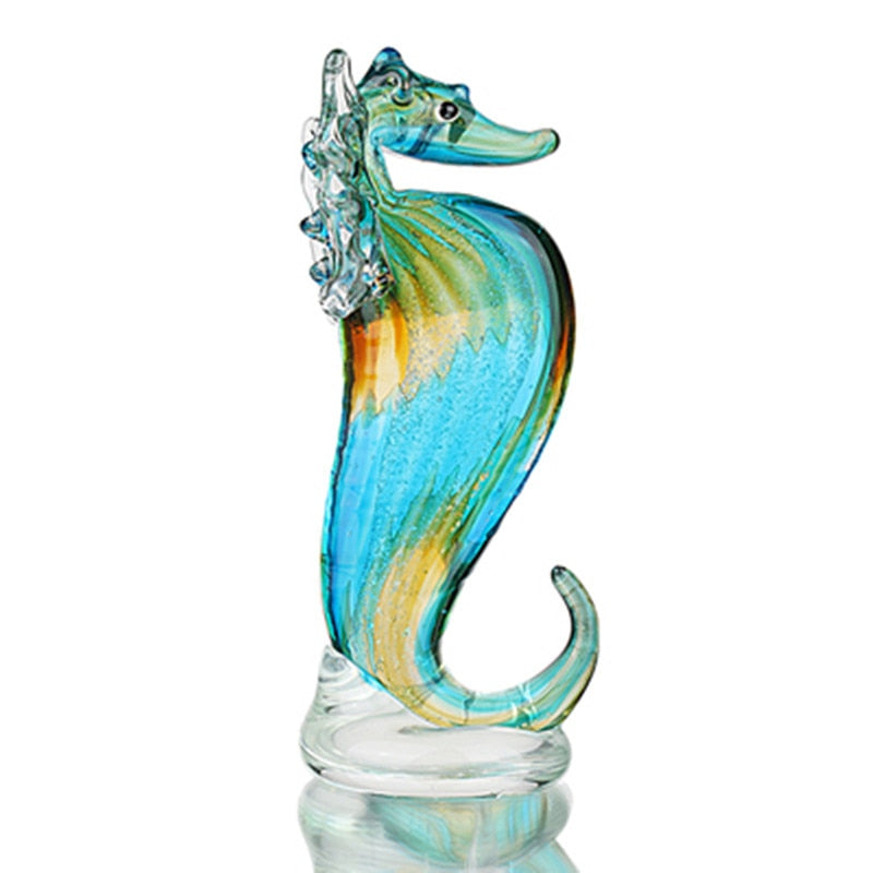 Seahorse Glass Sculpture - Handmade Blown Glass