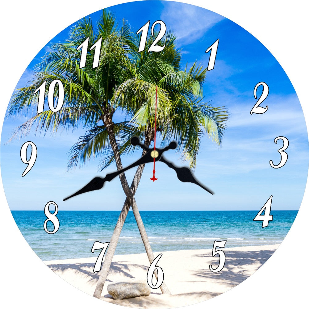 Coconut Trees Beach-Themed Wall Clock