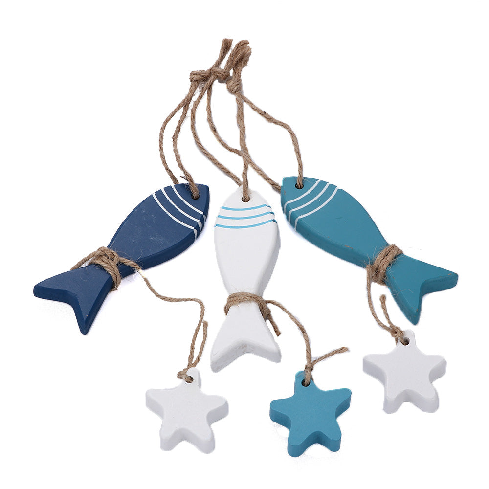 Wooden Starfish & Fish Nautical Decor