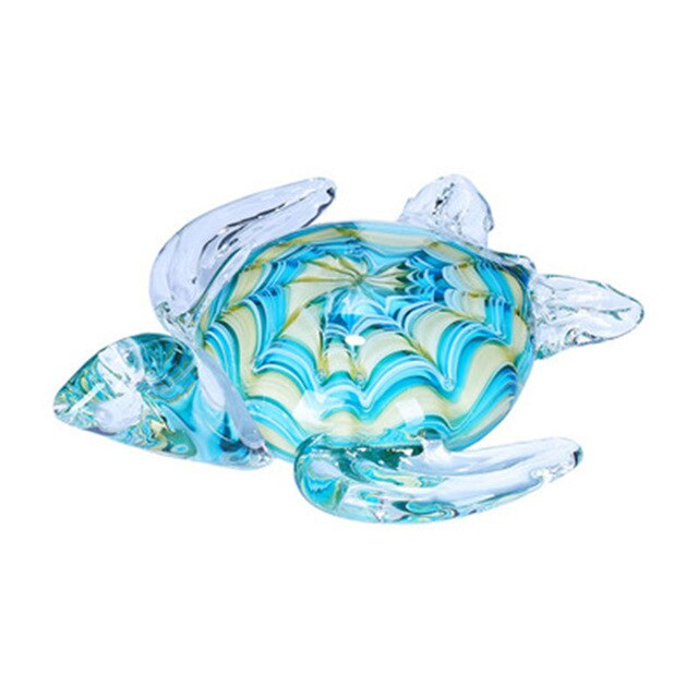"Hand Blown 6"" Glass Turtle"