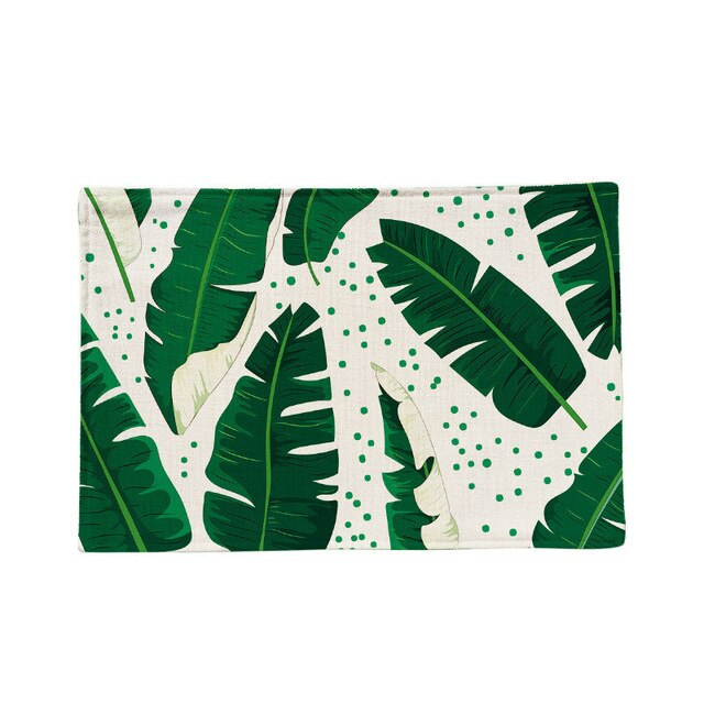 Fresh Green Leaves Linen Placemat