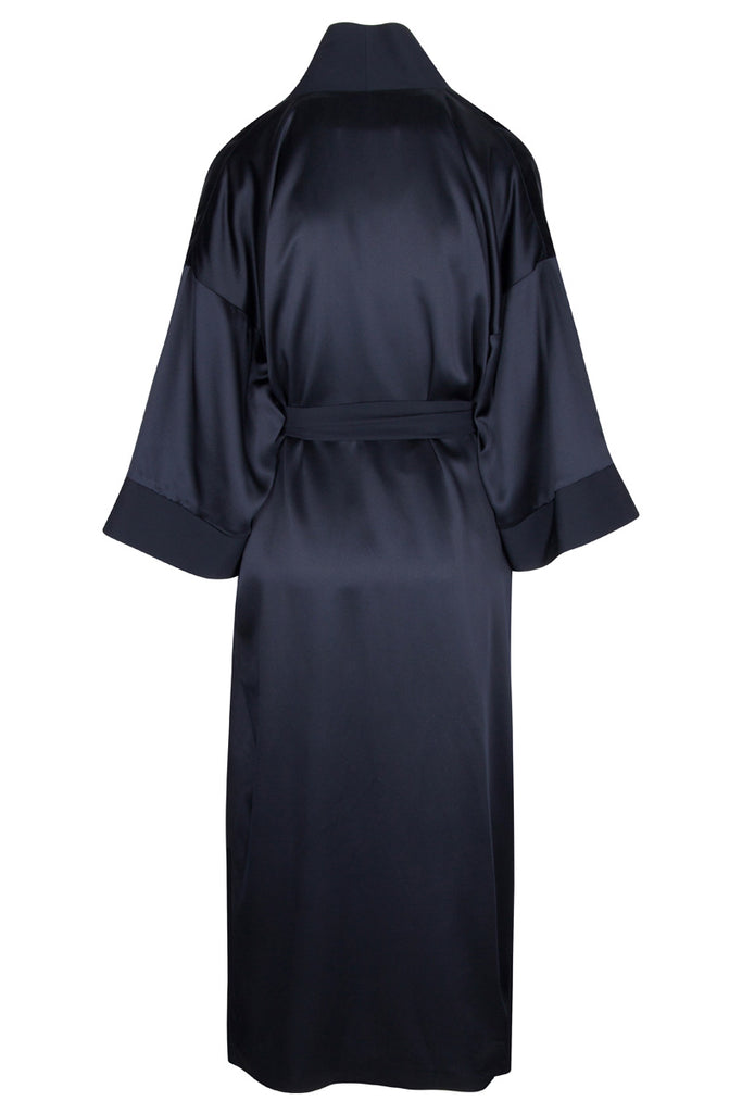 Back view detail, Chiyo in navy silk with crepe collar, cuffs and sash belt