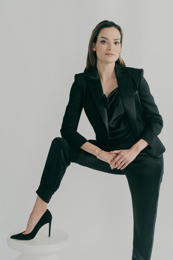The H Jacket styled with Boudica tuxedo-style track pants and Grace camisole on black silk charmeuse