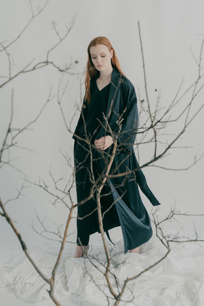 Chiyo kimono coat styled with Bianca jumpsuit in navy