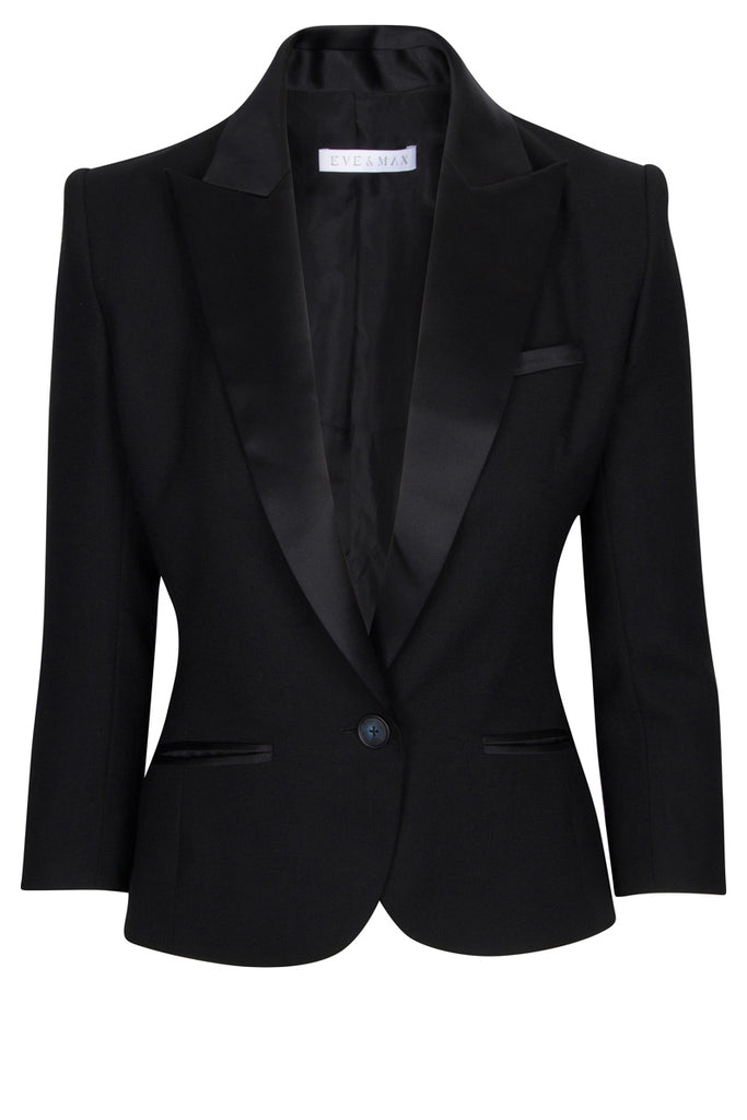 The H jacket in black wool crepe with silk satin trim