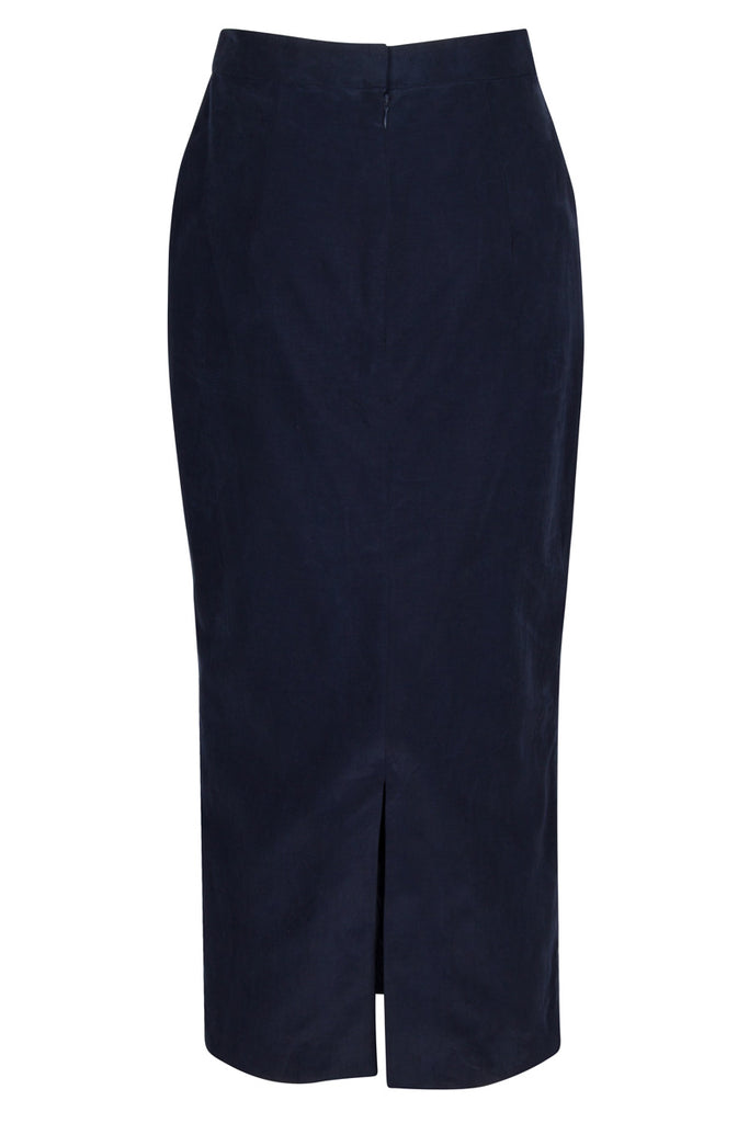 Back view, Westwood in navy cupro cotton with back split