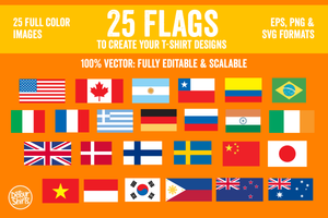 25 Flags Vector Pack