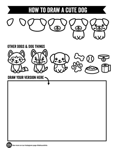 How to Draw a Cute Dog Print Out