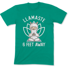 Load image into Gallery viewer, Llamaste 6 Feet Away Llama Yoga Shirt