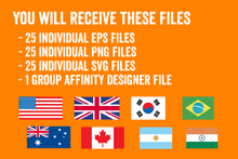 Load image into Gallery viewer, 25 Flags Vector Pack