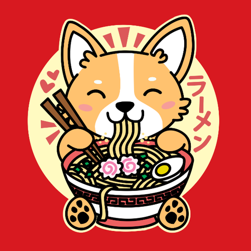 Corgi Eating Ramen Kawaii
