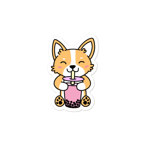 Corgi Drinking Boba Sticker