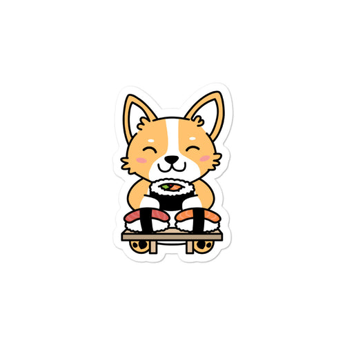 Corgi Eating Sushi Stickers