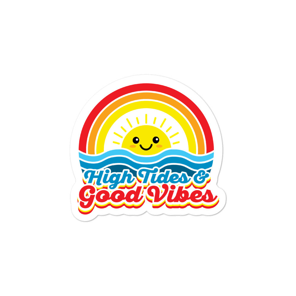 High Tides and Good Vibes Rainbow Kawaii Stickers