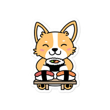 Load image into Gallery viewer, Corgi Eating Sushi Stickers