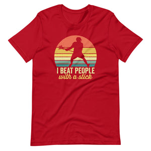 I Beat People with A Stick Lacrosse Vintage Sunset T-Shirt