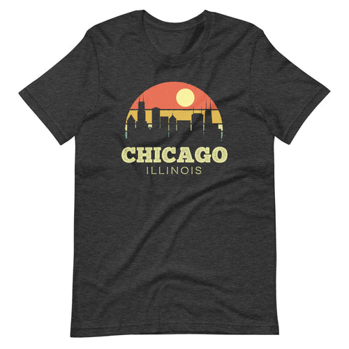 Chicago Illinois Vintage Sunset City T-Shirt