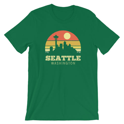 Seattle Washington Vintage Sunset Retro T-Shirt