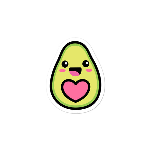 Cute Kawaii Happy Avocado Love Heart Stickers