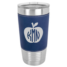 Load image into Gallery viewer, 20 oz. Apple Monogrammed Leather Tumbler