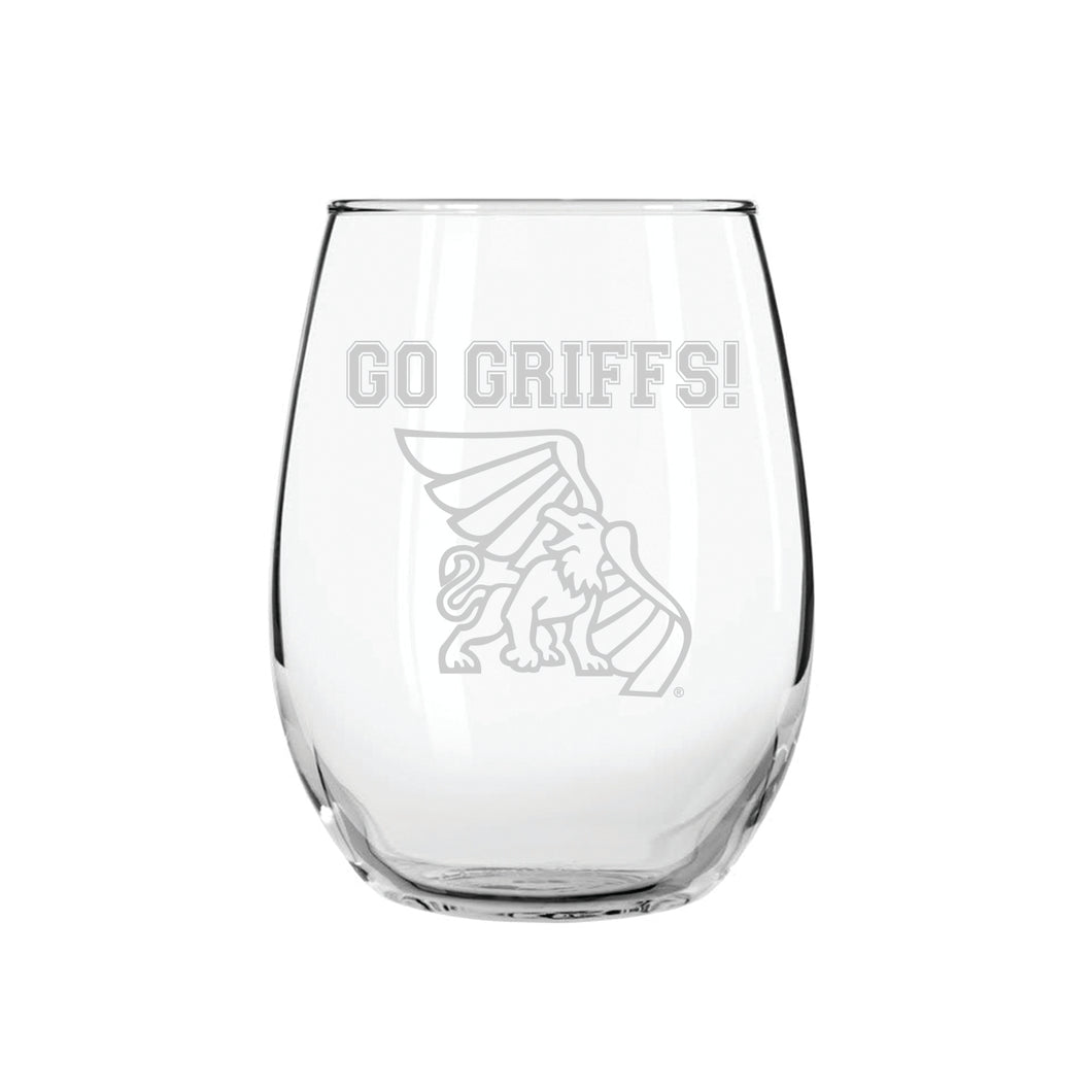Go Griffs! Stemless Wine Glass
