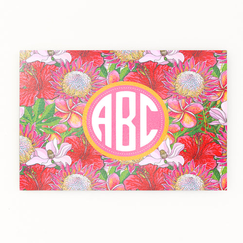 Floral Monogram Glass cutting board