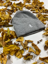 "Load image into Gallery viewer, Stacksandkicks™ ""SK"" Grey and White Beanie"