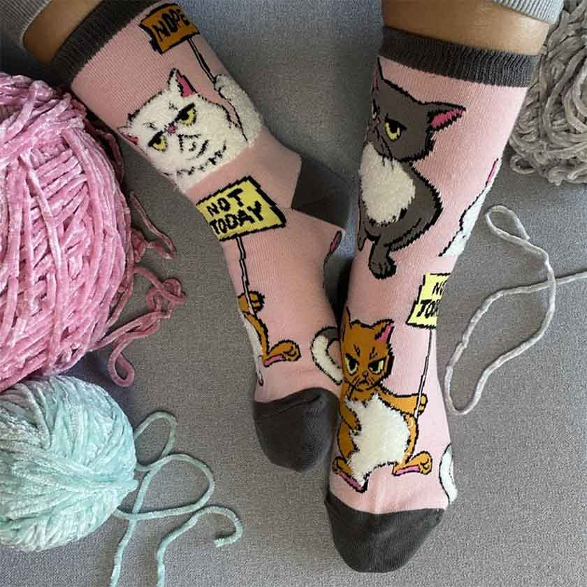 Not Today women's crew socks with cats