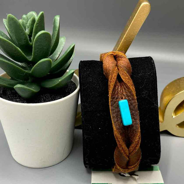 Little Jul leather and turquoise bracelet