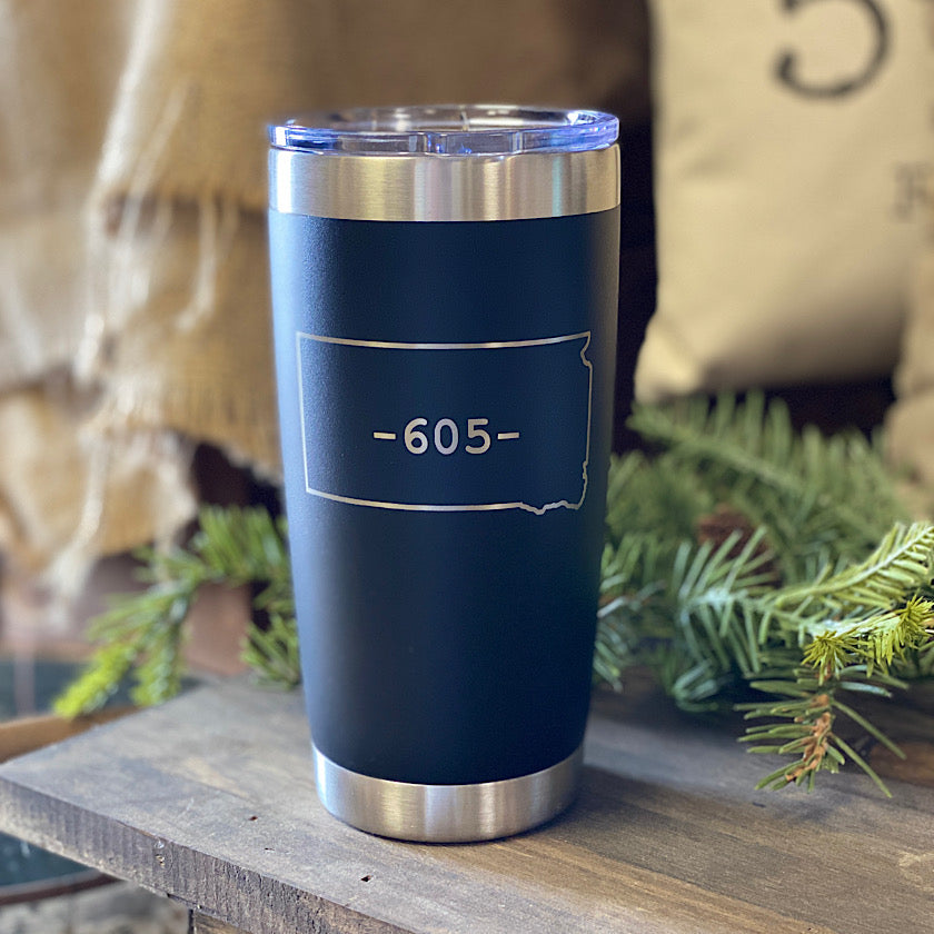 20 oz - 605 Tumbler - South Dakota - Black