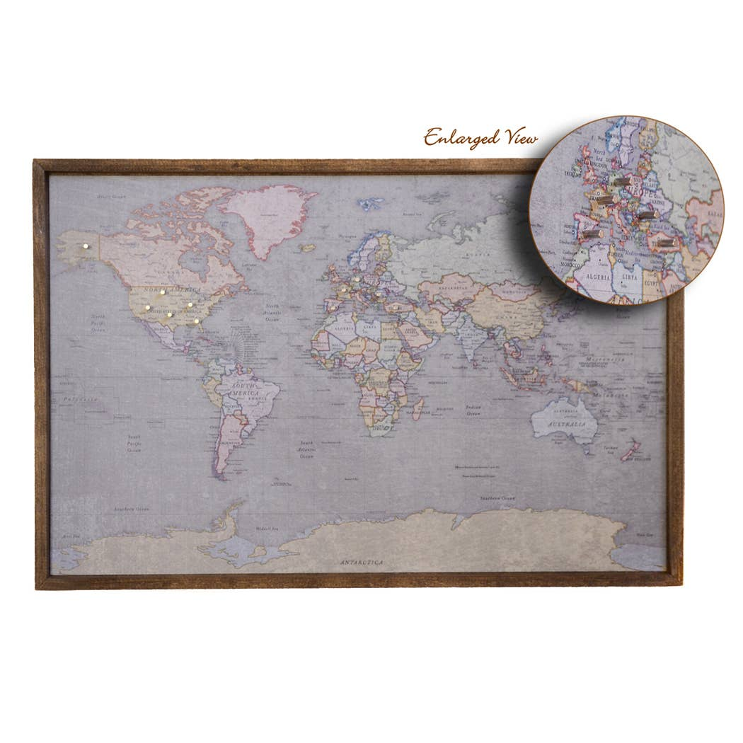 24x16 Colored Antique Magnetic World Map -Driftless