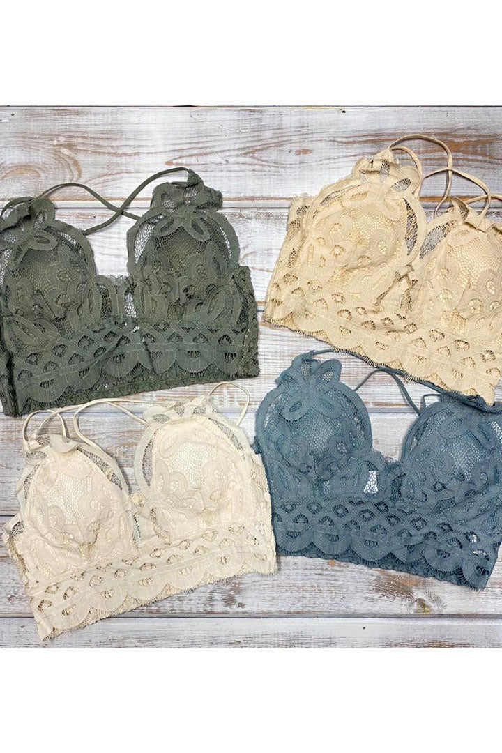 TAUPE LACE BRALETTE